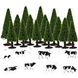 S0701 15pcs Dark Green Pine Model Cedar Trees and 8pcs Model Cows for Model Railroad Scenery Landscape Layout HO OO Scale New from Evemodel