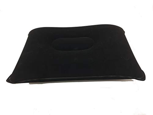 Inflatable Rectangle Travel Camping Support Pillow Lightweight Compact Soft Cover – Black