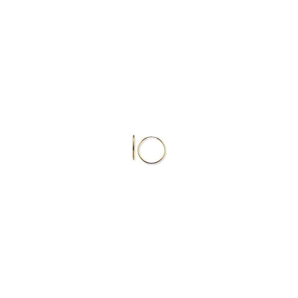 Small 14k Yellow Gold Men/Baby/Children Endless Eternal 12mm (1/2 or 0.5 diameter) Hoop Earrings, Flexible Perfect Fit Design, HYPOALLERGENIC