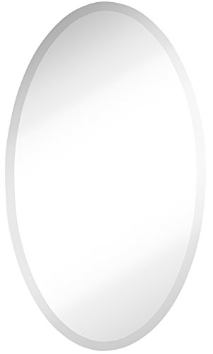 Large Simple Round Streamlined 1 Inch Beveled Oval Wall Mirror | Premium Silver Backed Rounded Mirrored Glass Panel | Vanity, Bedroom, or Bathroom | Frameless Hangs Horizontal or Vertical (24