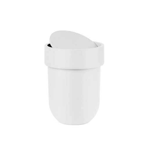Swing Lid Wastebasket - Umbra Touch Waste Can, Small Trash Can with Lid, Swing Lid Waste Basket, Garbage Can with Lid for Washroom/Bathroom, Soft Touch, Matte White Finish