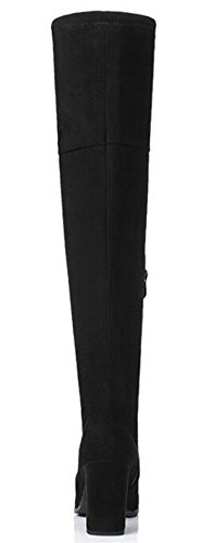 IDIFU Womens Sexy Stretchy High Chunky Heels Faux Suede Above Knee High Boots With Zipper Black zXuQzq