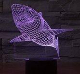 Lightess 3D Desk lamp Acrylic Night light Shark Furniture Decorative colorful 7 color tranform gift household Accessories