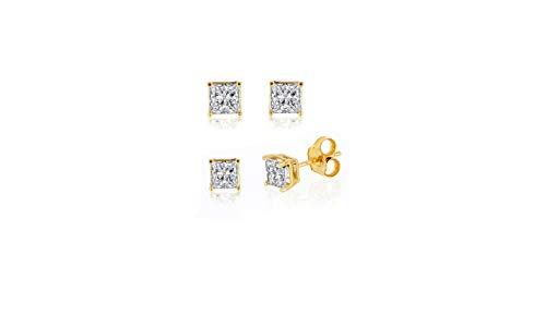 IGI Certified 10k Yellow Gold 0.10ct to 2ct Princess Diamond Stud Earring (H-I, SI) ()