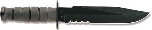 New Kabar 1271 Fighter Usa Black Fixed Knife Sale With Leather Sheath Sale