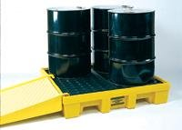 Poly Storage Tanks - Eagle 1645 4 Drum Low Profile Containment Pallet with Drain