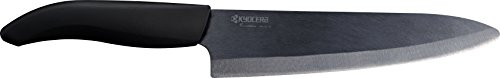 Kyocera Advanced Ceramic Revolution Series 7-inch Professional Chef's Knife, Black Blade