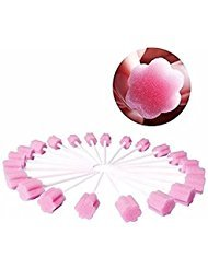 BoNew-Oral 200 Pcs of Disposable Oral Care Sponge Swab Tooth Cleaning Tips (Pink)