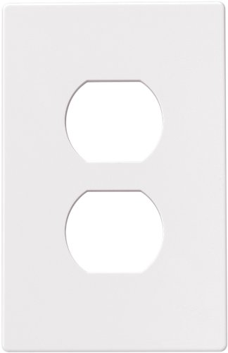 (Eaton PJS8W Polycarbonate 1-Gang Screwless Duplex Receptacle Mid Size Wall Plate, White)