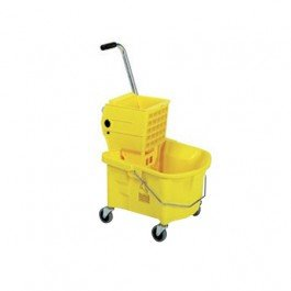 26 Quart Yellow Bucket with Mop Wringer Combo - 1 per case