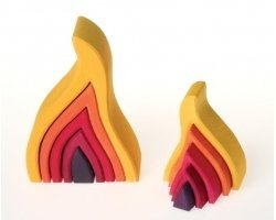 Grimm's Large Fire Flames Nesting Wooden Stacker Blocks Puzzle, Elements of Nature: FIRE ()