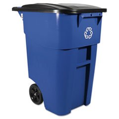 * Brute Rollout Container, Square, Plastic, 50 gal, Blue