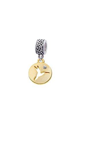 Goldtone Hummingbird Disc - Celtic Knot Charm Bead