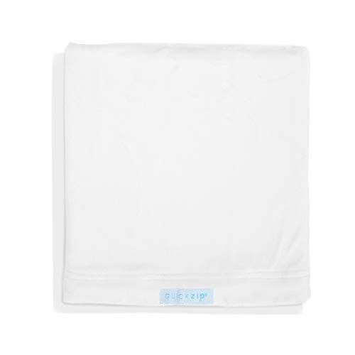 QuickZip Crib Extra Zip-On Sheet (SecureFit Wraparound Base Not Included) - Faster, Safer, Easier Baby Crib Sheets - White Mink - Fits All Standard Crib Mattresses
