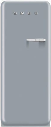 Smeg FAB28USVL1 24'' 50s Retro Style Top-Freezer Refrigerator with 9.22 Cu. Ft. Capacity Ice Compartment Interior Light Adjustable Glass Shelves and Bottle Storage in Silver: Left by Smeg