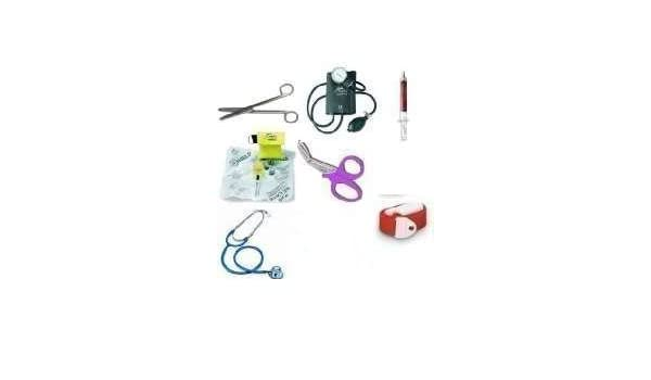 Kit para enfermera (esfigmomanómetro + kit de estetoscopio Sprague + linterna de exploración + brazalete + tijeras de corte preciso + práctica máscara de ...