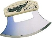 - Inupiat Style Cultured Ivory Handle Eagle Ulu Knife