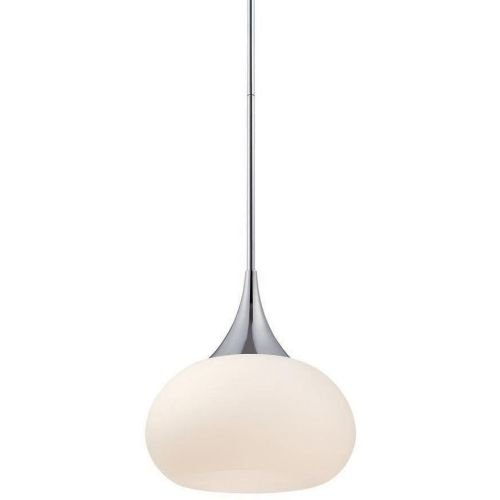 WAC Lighting PD-51814-CH Kiss LED Pendant Fixture, One Size, White/Chrome (Delicate Spun Glass)
