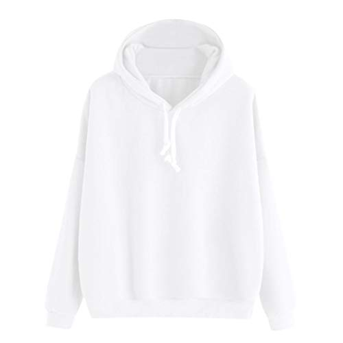 Sunhusing Womens Simple Fashionable Solid Color Hooded Sweater Drawstring Casual Pullover ()