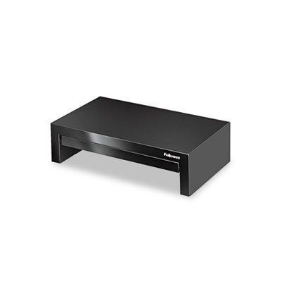 Adjustable Monitor Riser with Storage Tray, 16 x 9 1/2 x 4 1/2-6, Black, Sold as 1 Each