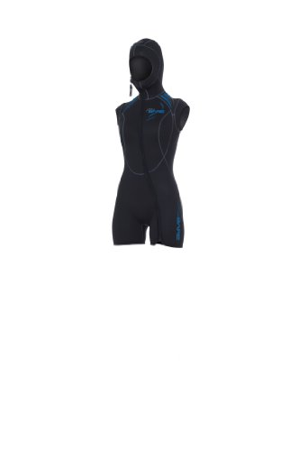 Bare 5mm Womens Sport Step-in Hooded Vest for Scuba Diving CLOSEOUT (Black/Blue, 14+)