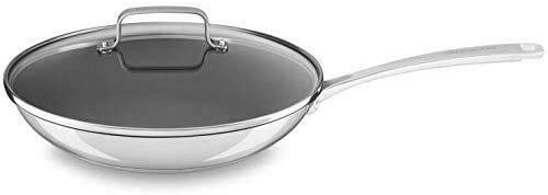 """7019 - Stainless Steel 12"""" Nonstick Skillet Fry Pan with lid Dishwasher – MN35"""