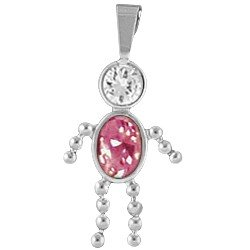 (Birthstone Boy Charm Sterling Silver with Bail October )