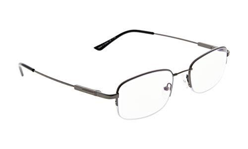 Progressive Multifocus Reading Glasses Men Women UV Protection Filter Readers Flexible Titanium Eyeglasses Half-rim (Gunmetal, - Rim Eyeglasses Metal