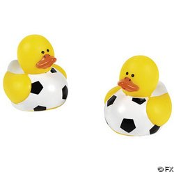 Two Dozen (24pc) Soccer Rubber Duck Party Favors - Soccer Rubber Duck