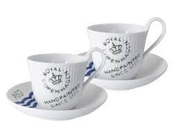 ロイヤルコペンハーゲン ホワイトプレイン シグネチャー ハイハンドルカップ&ソーサー (ペア) [並行輸入品] B074Y36VPN