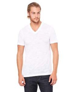 Bella+Canvas Comfortable V-Neck Jersey T-Shirt, Medium, White Slub