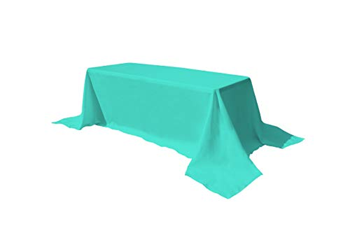 GEFEII Rectangle Tablecloth 90x132 inch Solid Polyester Rectangular Table Cloth for Wedding Party Restaurant Banquet Dining Buffet Table Picnic Decorations (Rectangle-90x132 inch, Turquoise)