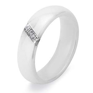 JEWH New 6MM Crystal Ceramic Ring - Cubic Zirconia Stone Women Jewelry - Engagement Wedding Band