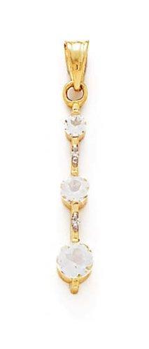 Blanc 14 carats Diamant-Topaze-JewelryWeb et rêches