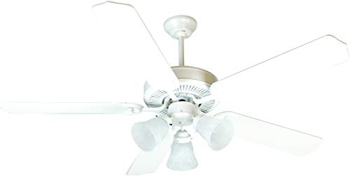 Craftmade K10638 Protruding Mount, 5 White Blades Ceiling fan with 39 watts light, - Unipack Collection