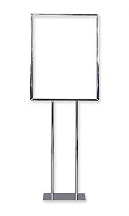 Double Sided Twin Stem Metal Sign Holder in Chrome 22 x 28 Inches