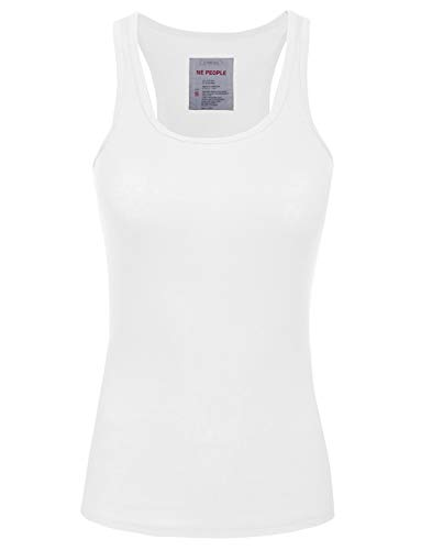 (NE PEOPLE Womens Basic Stretch Comfy Fitted Ribbed Tank Top S-3XL)
