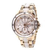 Seiko Sportura Chronograph Mother of Pearl Dial Gold-tone and White Ceramic Mens Watch SNDX02P1
