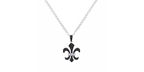 Fleur De Lis 14k Necklace (Black and White Natural Diamond Fleur de Lis Pendant Necklace in 14k White Gold Over Sterling Silver (1/4 Ct))