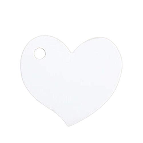 JEWH 50 Pcs Heart Wedding Invitations Card Kraft Paper Craft Favors Decoration Halloween Christmas Birthday Party Supplies 4.5x4cm (White) -