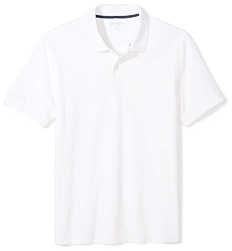 Amazon Essentials Men's Slim-Fit Cotton Pique Polo Shirt, White, Medium