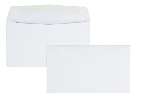 Quality Park #6-3/4 Business Envelopes with a Gummed Flap for Standard Remittance Business Mailing, 24 lb White Wove, 5-3/8 x 6-1/2, 500 per Box (90070) (Envelopes 6 3 4)
