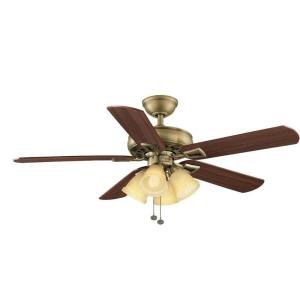 Hampton Bay Lyndhurst 52 in. Antique Brass Indoor Ceiling Fan ...
