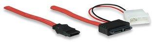 Manhattan, 12-inch Slimline SATA 13-Pin (7+6 Pin) Male to 7-Pin SATA Male and 4-Pin 5V Molex Cable -