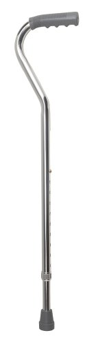 DMI Deluxe Lightweight Adjustable Walking Cane with Vinyl Offset Hand Grip, Slip Resistnace, for Men and Women, Silver