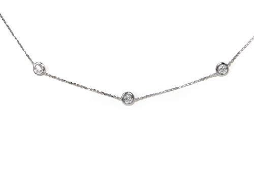 -F VS1 Diamond by The Yard Bezel Necklace (WG, 74pt) ()