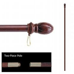 FlagandBanner Mahogany Two-Piece Pole with Pineapple Ornament (5 ft. x 1 - Finials Oak Carved
