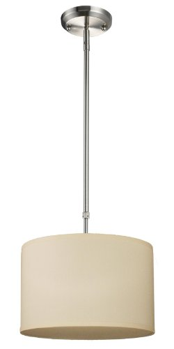 Albion 1 Light Pendant - Z-Lite 171-12C Albion One Light Pendant, Metal Frame, Brushed Nickel Finish and Off White Linen Fabric Shade of Fabric Material