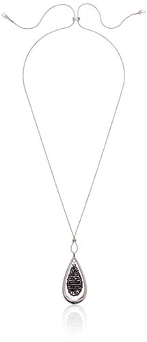 (Kenneth Cole Woven Beaded Teardrop Pendant Long Slider Necklace, Jet, One Size)