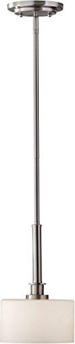 Satin Nickel Pendant Stem - Feiss P1264BS Kincaid Glass Drum Pendant Lighting, Satin Nickel, 1-Light (7